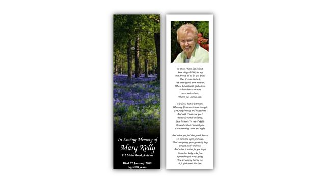 Funeral bookmarks – Wedding celebrations