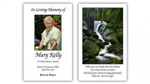 Memorial wallet cards
